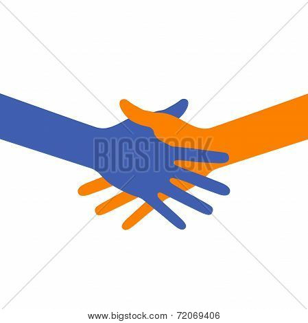Colorful icon hand shake