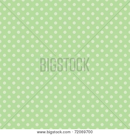 Seamless vector pattern with light green polka dots on a retro mint green background