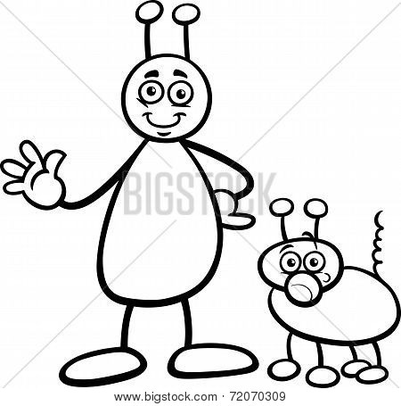 Alien With Dog Cartoon Coloring Page
