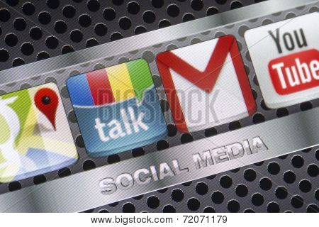 Belgrade - August 30, 2014 Social Media Icons Google Talk, Google Mail And Other On Smart Phone Scre
