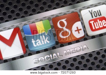 Belgrade - August 30, 2014 Social Media Icons Google Talk, Google Plus And Other On Smart Phone Scre