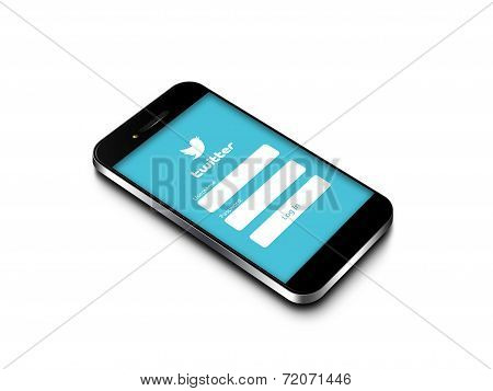 Gdansk - Poland, September 16, 2014. Mobile Phone With Twitter Login Page Isolated Over White Backgr