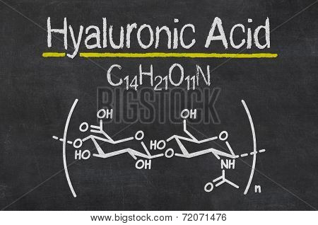 Blackboard with the chemical formula of hyaluronic acid