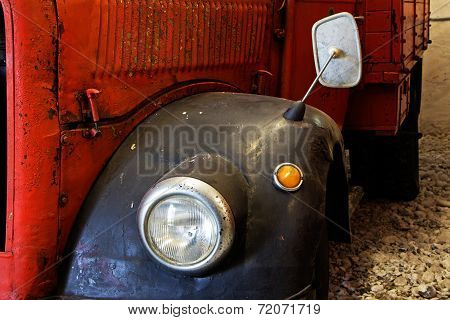 Fragment Of Old Fire Engine Close Up