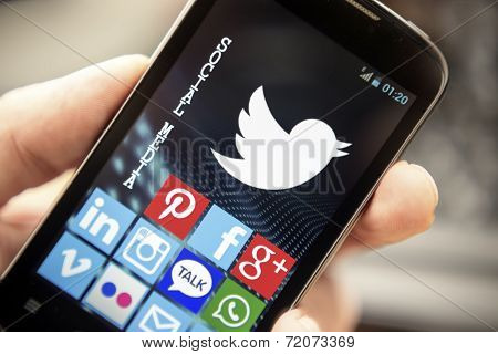 Belgrade - April 15, 2014: Social Media Icons Twitter, Facebook, And Other On Smart Phone Screen