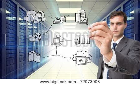 Concentrated businessman holding red marker against digitally generated server room with towers