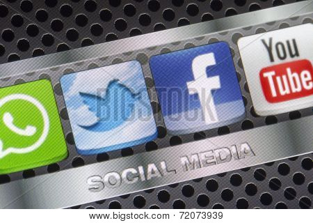 Belgrade - August 30, 2014 Social Media Icons Twitter, Facebook, Youtube And Other On Smart Phone Sc
