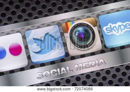 Belgrade - August 30, 2014 Social Media Icons Twitter, Instagram And Other On Smart Phone Screen Clo