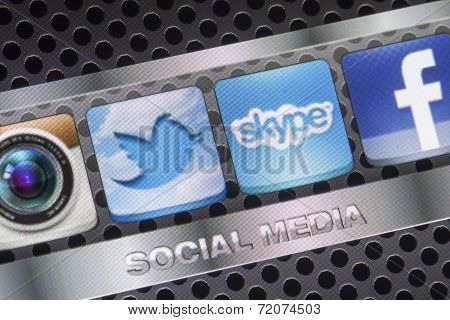 Belgrade - August 30, 2014 Social Media Icons Twitter, Skype And Other On Smart Phone Screen Close U