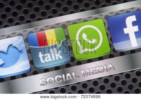 Belgrade - August 30, 2014 Social Media Icons Twitter, Whatsapp, Facebook, And Google Talk On Smart