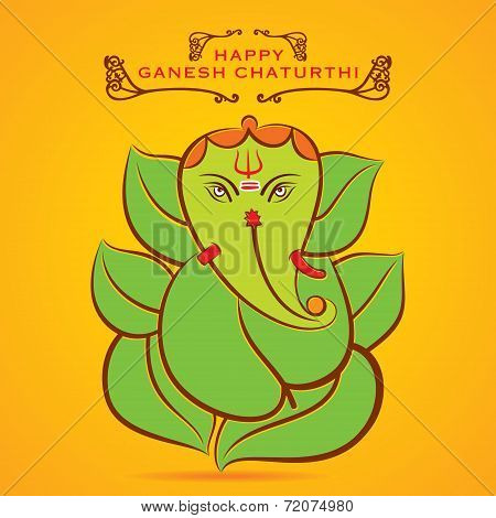 happy Ganesha chaturthi festival greeting background vector