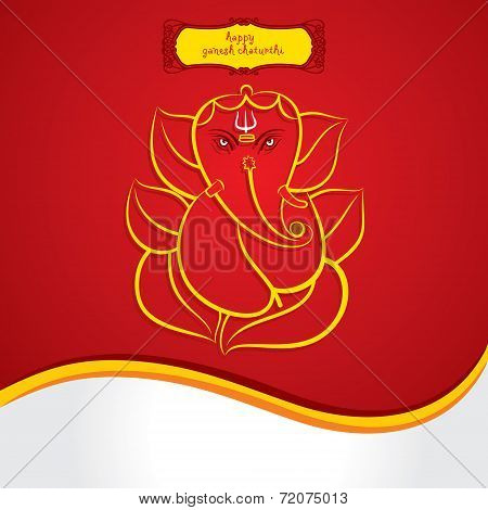 happy ganesh chaturthi sketch greeting card design background