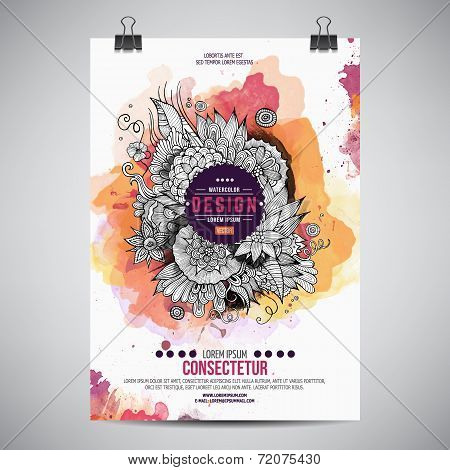 Vector watercolor paint floral poster
