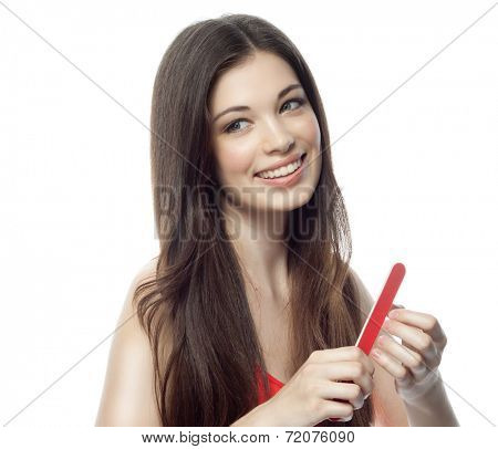 woman polishing her nails beauty portrait hands studio shot isolated on white manicure