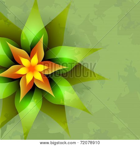 Vintage Background With Abstract Flower