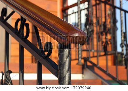 Wooden Hand-rail Close-up Partially Defocused Diagonal