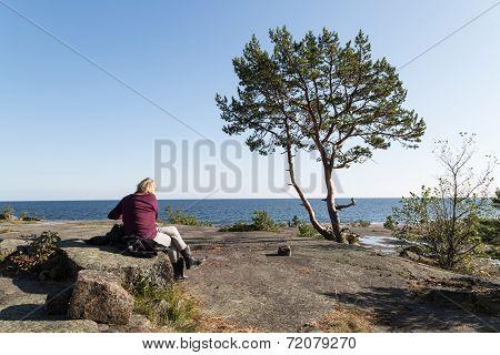 Woman Enjoying The Scenery