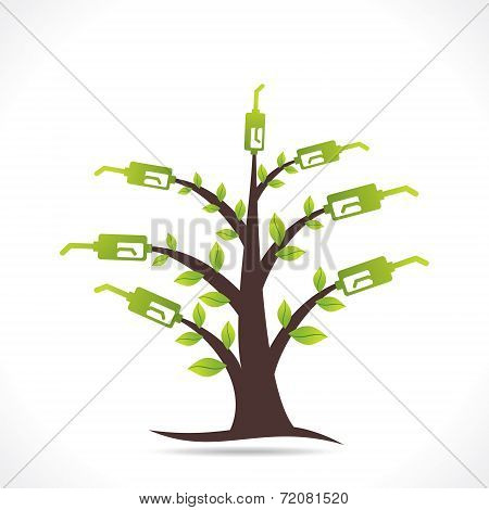 creative green fuel tree design concept vector