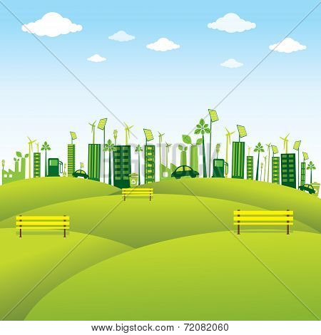 green or eco-friendly city design vector