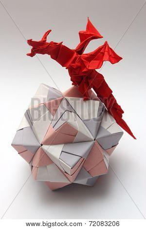 Origami Dragon On Paper Ball