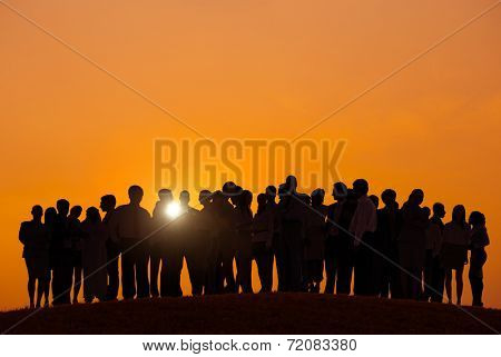 Silhouettes of Business People Outdoors