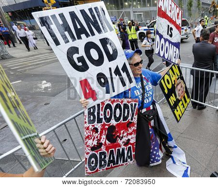 Westboro member with array of signs