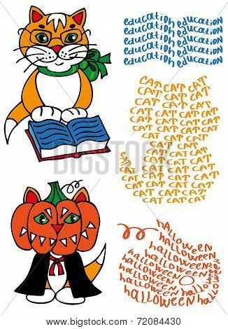 Learned Cat And Pumpkin