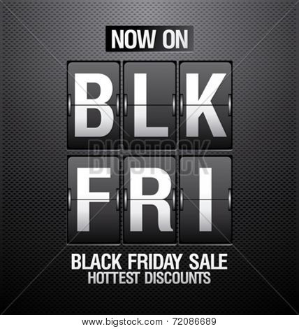 Black friday sale design in shape of analog flip clock.