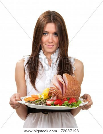 Woman Hold Plate With Smoked Sliced Ham Meat
