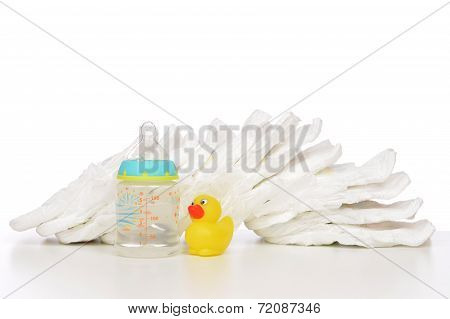New Born Child Stack Of Diapers Nipple Soother Baby Feeding