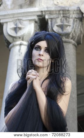 Halloween Mysterious Dressed Gothic Woman