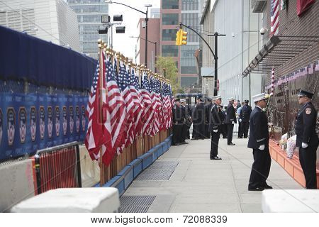 US flags & FDNY memorial wall