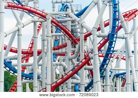 Railway of roller coaster in amusement park