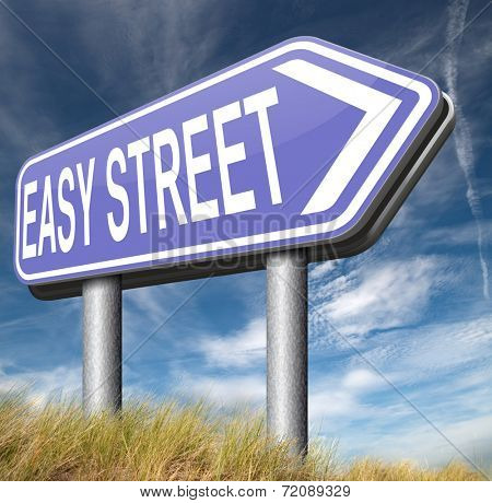 easy street road risk free sign arrow