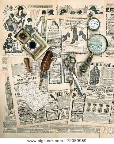 Antique Accessories And Writing Tools, Vintage Fashion Magazine