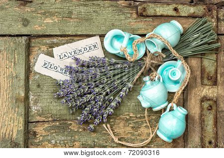 Fresh Lavender Flowers Over Rustic Wooden Background