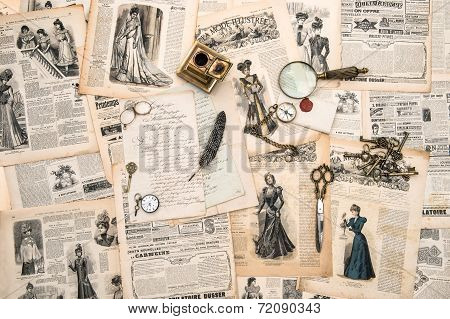 Antique Office Accessories, Writing Tools, Vintage Fashion Magazine