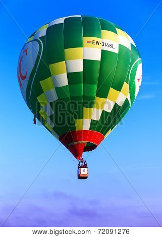 Green flying balloon