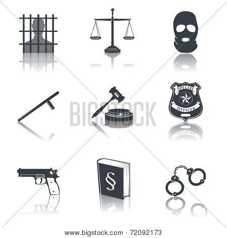 Law and justice icons black