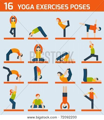 Yoga exercises icons