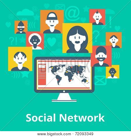 Social network icons composition poster