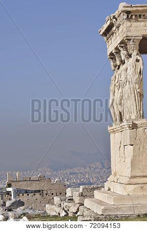 Caryatides ancient Greek women statues