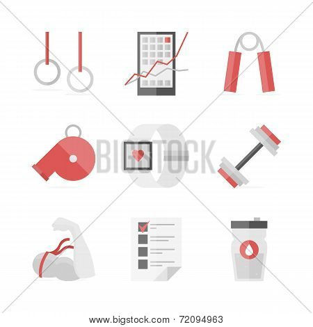 Strength Training Flat Icons Set