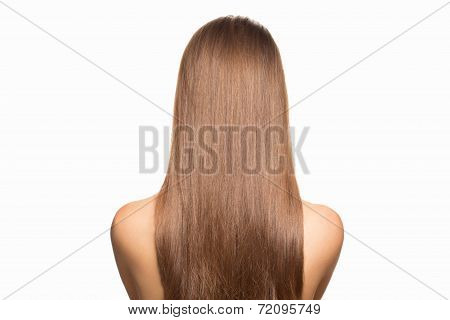 Portrait of attractive young woman with beautiful bridal hairstyle with tress, rear view