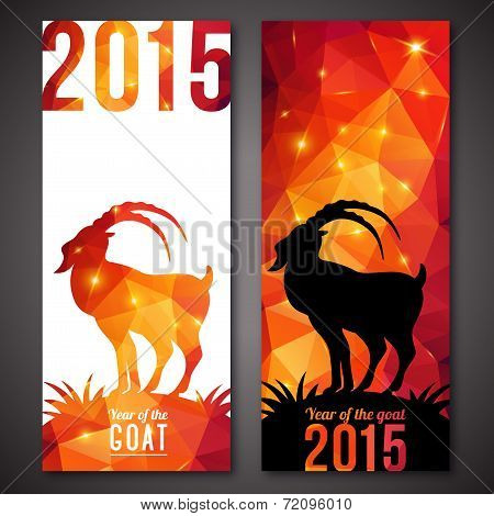 Banners Set With Geometric Pattern Goat.