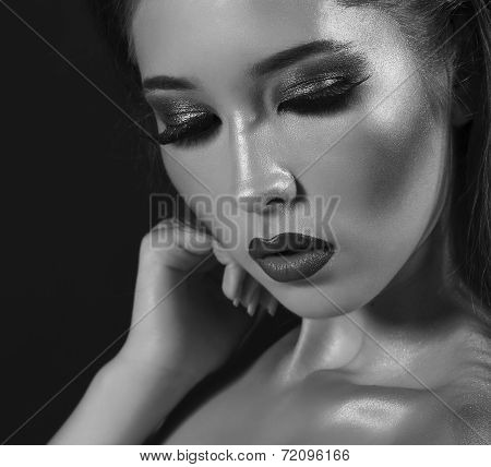 Portrait Of Beautiful Model With Bright Eyes Makeup