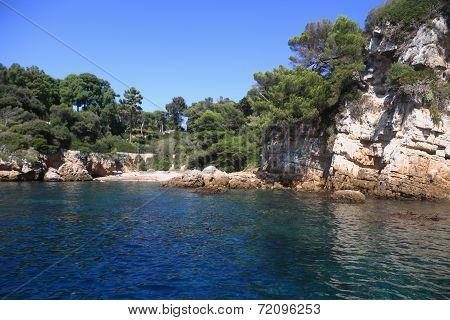 Rocky Coastline On The Mediterranean Sea Of Antibes Bay