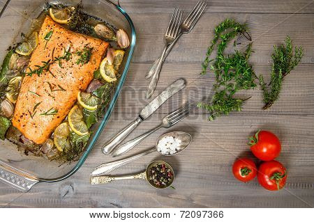 Grilled Salmon Fish With Fresh Herbs And Spices