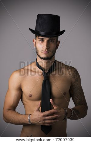 Attractive Shirtless Young Man With Black Tie And Hat
