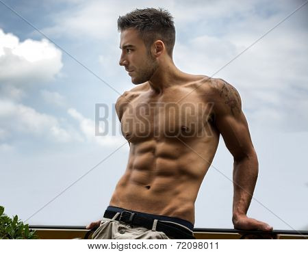 Handsome Shirtless Young Man Outdoor poster